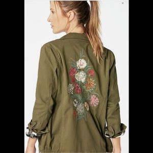 Just Fab embroidered army jacket sz L